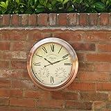 Orologio da parete per esterni con temperatura e igrometro Magnolia, grande, effetto rame, 38,1cm