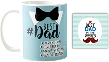 Giftsmate Bowtie Best Dad Ceramic Mug, 330 ml, Blue and Silver