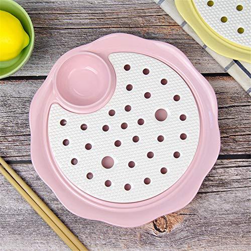 YUWANW Ceramic Knödel dish Doppel Drain abnehmbar mit Essig dish kreative Fruchtschale undicht Lichtwanne Größe blau, C