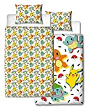 Pokemon Einzelbett-Bettbezug, wendbar, zweiseitig, mit Pikachu, Squirtle & Charmander mit passendem Kissenbezug, Mehrfarbig, 200 x 135 cm