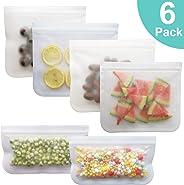 Reusable Storage Bags - 6 Pack BPA FREE Freezer Bag(4 Reusable Sandwich Bags & 2 Reusable Snack Bags) - EXTRA THICK Ziplock B