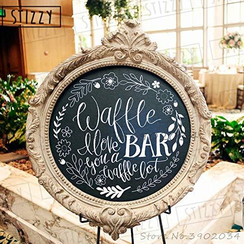 yiyiyaya Wandtattoo Zitate Waffel Bar Hochzeit Vinyl Aufkleber Willkommensschild Tafel Rustikalen Stil Blatt Muster Removable Decor 60 * 57 cm -