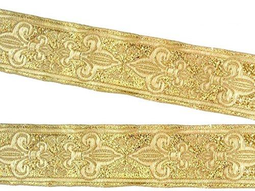 10m Französische Lilie Borte Fleur de Lis Webband 35mm Farbe: Lurex-Gold von 1A-Kurzwaren 35063-go Jacquard-fleur De Lis