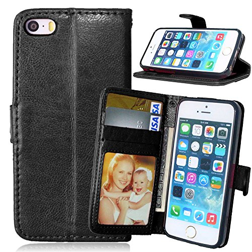 Nancen Compatible with Handyhülle iPhone 5 / 5S Lederhülle Style Acht Farbe Weich PU Flip Case Ledertasche/Schutz Etui, Karten Slot Foto Wallet Hülle (I Phone 5s Etui Flip Wallet)