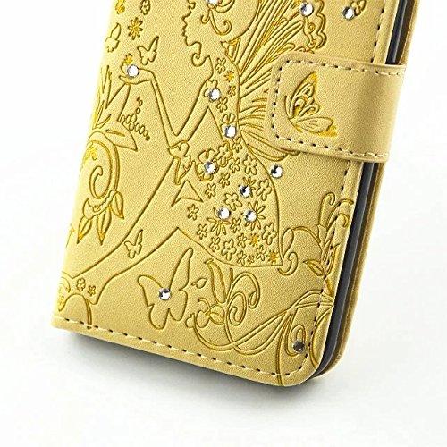 inShang Hülle iPhone 7 4.7 inch iPhone7 Cover con Ständer,PU Leder Tasche Skins Etui Schutzhülle Smart Case Cover mit super-nützliche Geldbörsenart, Wallet design with card slot Wings Girl yellow