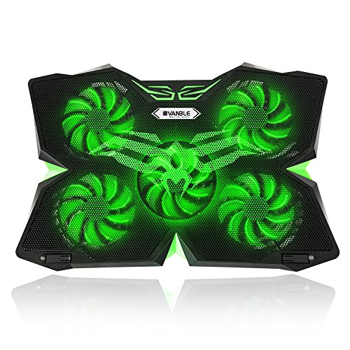 Vanble Laptop Cooler, Cooling Pad Laptop Kühler, Notebook Kühler, 5 Ventilatoren Notebookständer Gamer Gaming Stützhalterung (Grün)