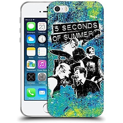 Ufficiale 5 Seconds Of Summer Jam Luminoso Montaggio Di Gruppo Cover Morbida In Gel Per Apple iPhone 5 / 5s