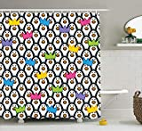 JIEKEIO Sea Animals Decor Shower Curtain Set, Penguins Wearing Colored Party Hats Crowns Rows of Staring Penguins, Bathroom Accessories, 60W X 72L inches