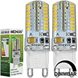 MENGS® Pack de 2 Regulable Bombilla lámpara LED 3 Watt G9, 64x 3014 SMD, Blanco Cálido, AC 220-240V