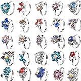 Yantu Children Kids Boys 20pcs Cute Crystal Silver Plated Adjustable Rings Jewelry