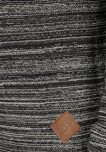 SOLID Mervin Herren Strickjacke Cardigan Grobstrick mit Schalkragen aus 100% Baumwolle Meliert Black