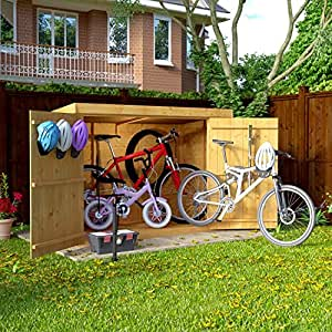 6x3 Overlap Wooden Pent Bike Storage Double Door Roof Felt Store Shed 6ftx3ft