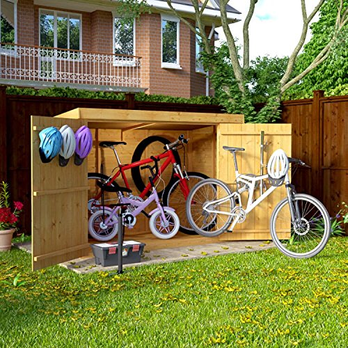 6×3 Overlap Wooden Pent Bike Storage Double Door Roof Felt Store Shed 6ftx3ft