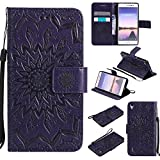 For Huawei Ascend P7 Case [Purple],Cozy Hut [Wallet Case] Magnetic Flip Book Style Cover Case ,High Quality Classic New design Sunflower Pattern Design Premium PU Leather Folding Wallet Case With [Lanyard Strap] and [Credit Card Slots] Stand Function Folio Protective Holder Perfect Fit For Huawei Ascend P7 (5,0 Inch) - purple