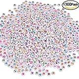Willingood 1300Stück Bunte Rund Alphabet Buchstaben Spacer Perlen Spacer [1200Stück Buchstaben Perlen ''A-Z'' + 100 Stück Love Herz Perlen] Zwischenperlen Schmuck DIY Basteln [7 * 4mm]