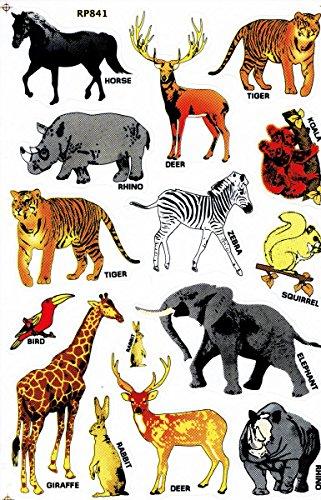 Afrika Tiere Löwe Giraffe Elefant Zebra Nashorn Tiger Aufkleber 15-teilig 1 Blatt 270 mm x 180 mm Sticker Basteln Kinder Party