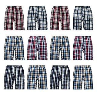 L&K 12er Pack Herren Schlafanzughose Pyjamahose Kurz Baumwolle Kariert Shorty 1413 ohne Knopf M