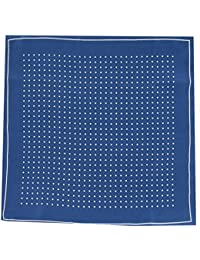 Mens Silk Handkerchief - Silk Pocket Handkerchief - Navy With White Spots and Border - (HH50)