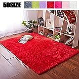 MENGH Kuscheliger teppich 80x120cm, Vorleger Schadstoffgeprüft Pflegeleicht fürWohnzimmerEsszimmerGästezimmer Rot