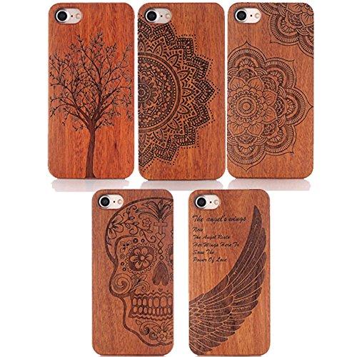 Ouneed® Für iPhone 7 Hülle, Holz geschnitzt hölzerne harte Fall Abdeckung Schützen Muster für iPhone 7 /4.7 Zoll (D) B