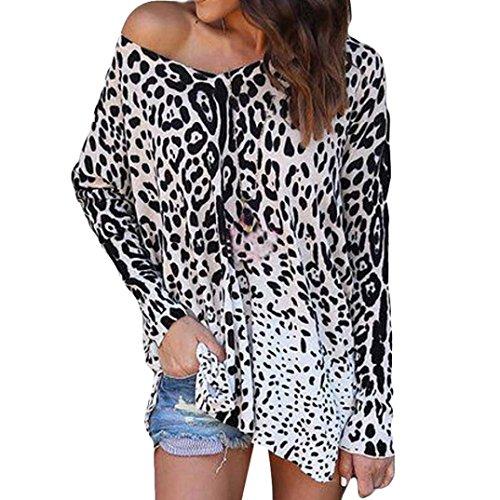 BaZhaHei-Blusa de mujer T-Shirt by Long Sleeve Mujeres Loose Top Camiseta de Manga Larga con Estampado de Leopardo y Estampado de Leopardo de Mujer Blusa sin Mangas Tops Shirt de Mujer