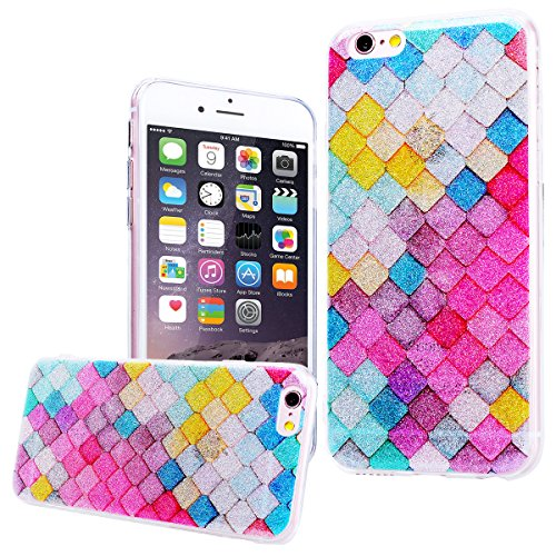 WE LOVE CASE Coque iPhone 6 Souple Gel Coque iPhone 6S Silicone Paillette Glitter Brillant Motif Fine Coque Girly Resistante Coque de Protection Bumper Coque Apple iPhone 6 iPhone 6S rouge