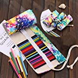 Stifterolle Wrap Leinwand Set Wrap Mäppchen Roll-up 36 Farben Aufrollbare Canvas Pencil Case Waschbare Bunt Bleistift Aquarell wickeln Farben Bleistift