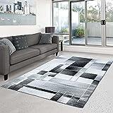 Teppich Moda Flachflor Modernes Design Kariert Türkis Schwarz Grün Wohnzimmer, Größe in cm:120 x 160 cm;Farbe:Schwarz