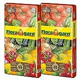 Floragard Bio Tomaten- und Gemüseerde ohne Torf 2 x 40 L, Bio-Erde für Tomaten, Chili, Zucchini, Gurken und anderes Gemüse, Hochbeeterde