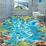 Fushoulu Pvc Selbstklebende Wasserdichte 3D Bodenfliesen Wandpapier Aufkleber Goldfish Korallenriff Fototapeten Badezimmer 3 D Bodenbeläge Tapeten-120X100Cm