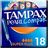 Tampax Pearl Compak Super Plus Tampons with Applicator 18X, Tampax's Best Tampon for Comfort Protection and Discretion…