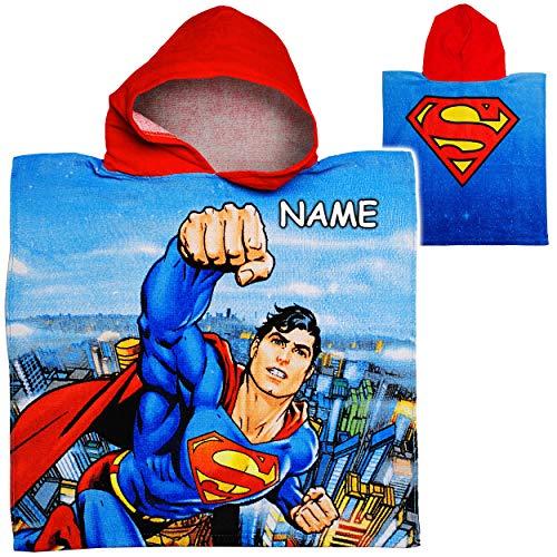 alles-meine.de GmbH Badeponcho / Kapuzenhandtuch - Superman - inkl. Name - 100 % Baumwolle - 50 cm * 105 cm - 2 bis 6 Jahre Poncho - mit Kapuze - Frottee / Velours - Handtuch STR.. Velours-poncho