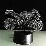 ATD 3D Optische Täuschung Kühle Dazzle Motorrad-Noten-Knopf 7 Farbwechsel LED Nachtlicht Schreibtischlampe