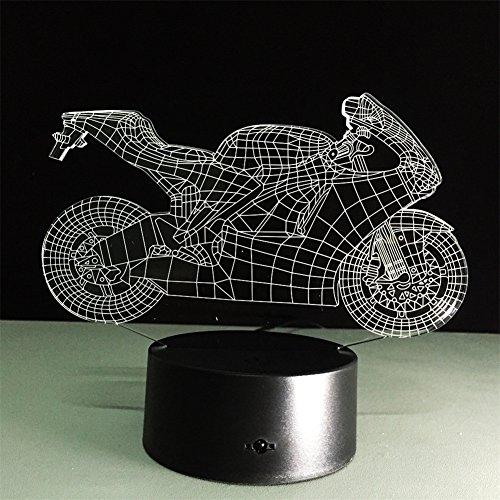 ATD® 3D Optische Täuschung Kühle Dazzle Motorrad-Noten-Knopf 7 Farbwechsel LED Nachtlicht Schreibtischlampe