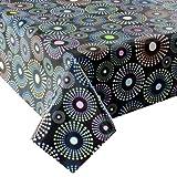 Wachstuch Breite & Länge wählbar - Bunte Punkte Schwarz - Größe ECKIG 120 x 120 bzw. 120x120 cm abwaschbare Tischdecke