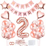 Bluelves 2 födelsedagsdekoration, 2 år födelsedagsdekoration, 2 år födelsedagsdekoration, 2 ballonger roséguld dekoration, ba