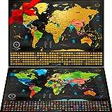 Due Mappe Da Grattare: Mappa Del Mondo Da Grattare Con Bandiere (61x43 Cm) + 'Mappa a Sorpresa' (Degli Stati Uniti Oppure Dell'europa, 46x33 Cm) In Regalo. Poster Mappa Viaggi, Prodotti In Europa