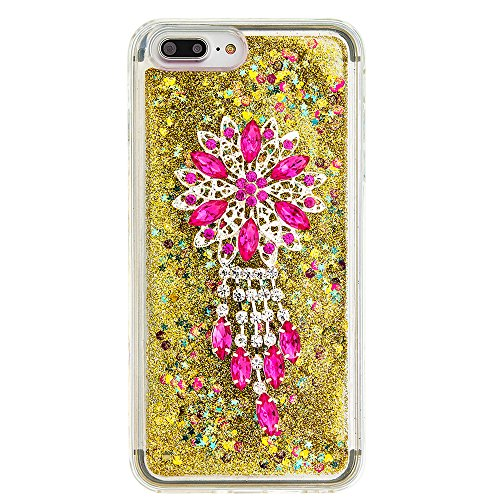 """Flüssiges Case Ultra Thin Dünn TPU Silikon Schutzhülle für iPhone 7 plus 5.5"""" 3D Kreative Liquid Handyhülle Durchsichtig Rückseite Tasche Glitter Shiny Kristall Klar Handytasche Sparkle Dynamisch Trei E09"""