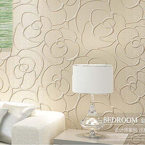 KeTian Moderner Puristischer Rose Blume Vlies Tief Geprägt 3D Texturierte  Wohnzimmer Schlafzimmer Tapete Rolle 0,53 M X 10 M U003d 5.3 M2 , Cremefarben,  ...