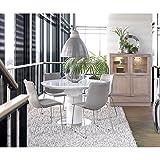CANETT FURNITURE Bling Modern Esstisch Ausziehbar Rund Weiß Hochglanz , Stahl, MDF, 120 x 120 x 77 cm