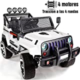 BC BABY COCHES Babycoches Jeep Raptor, 12 V, traccion 4x4, monoplaza, asiento polipiel, ruedas todoterreno caucho, mando parental, luces LED barra antivuelco