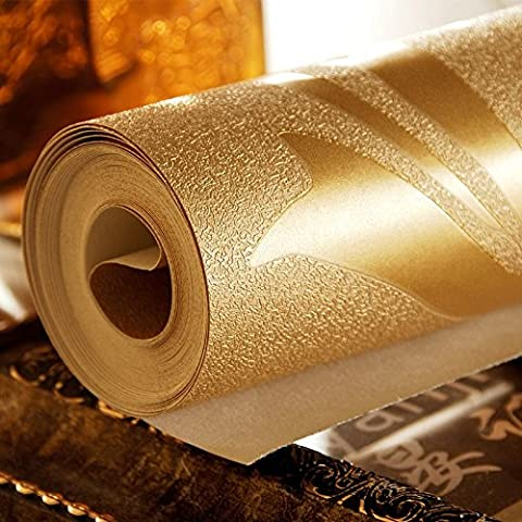 LXPAGTZ Hoja de oro continental fondos salón dormitorio televisión TV pared del fondo PVC proyectos especiales fondos de oro, largo 9.5 m * ancho 0.53m (² de 5 m) , pure