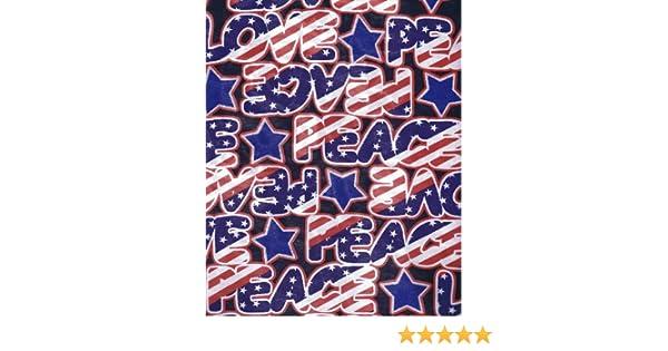 Fat Quarter USA Stars /& Stripes Love /& Peace Printed Cotton Quilting Fabric