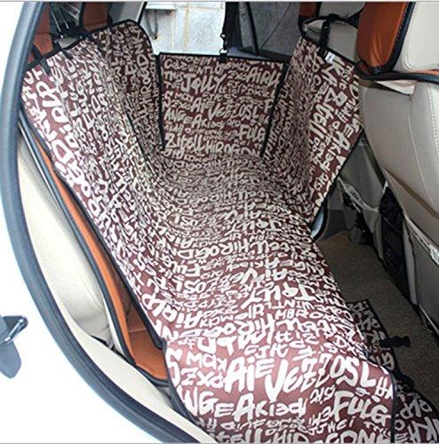 Wasserdichte Rücksitzbezug Durable Hund Sitzbezüge Reisen rutschfest mit Auto Sicherheitsgurt, Hund Auto Sitzbezug mit zusätzlichen Seitenklappen Kratzfesten Abriebfestigkeit und Hängematte Cabrio Universal ( Color : Brown ) (Vier-punkt-hängematte)