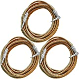 Seismic Audio SAGCRYW-20-3Pack Yellow 20-Feet Tweed Woven Cloth Guitar Cables/Instrument Cables, 3 Pack