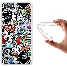 Funda Elephone M2, WoowCase [ Elephone M2 ] Funda Silicona Gel Flexible Grafiti de Colores 2, Carcasa Case TPU Silicona - Transparente
