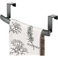 mDesign Tea Towel Holder — Over Door Towel Rail with No Drilling Required — Kitchen Towel Rail — Ideal for Kitchens…