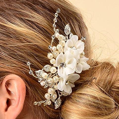 Topwedding Elfenbein Tulle Blume Haar