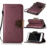 iPhone 7 (4,7 zoll) Case Leather, Ecoway Silk grain PU Leather Stand Function Protective Cases Covers with Card Slot Holder Wallet Book Design for iPhone 7 (4,7 zoll) - Red wine