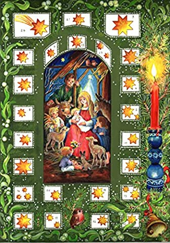 Calendrier de l'Avent 24 portes 297 x 210 mm – Crèche de Noël Mary et Jésus – Translucide avec paillettes et Windows – R44 – Design Antique Allemand traditionnel